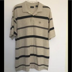 Izod Gray Striped Polo Top